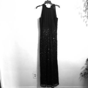 Adrianna Papell half sequin high neck gown